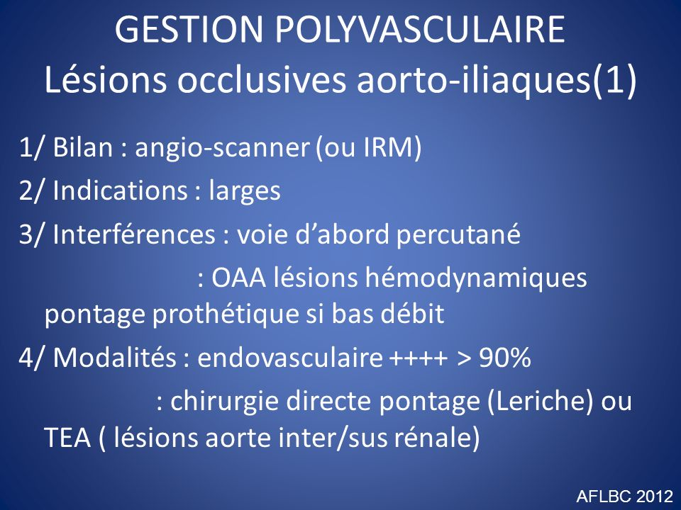 GESTION POLYVASCULAIRE Lésions occlusives aorto-iliaques(1)