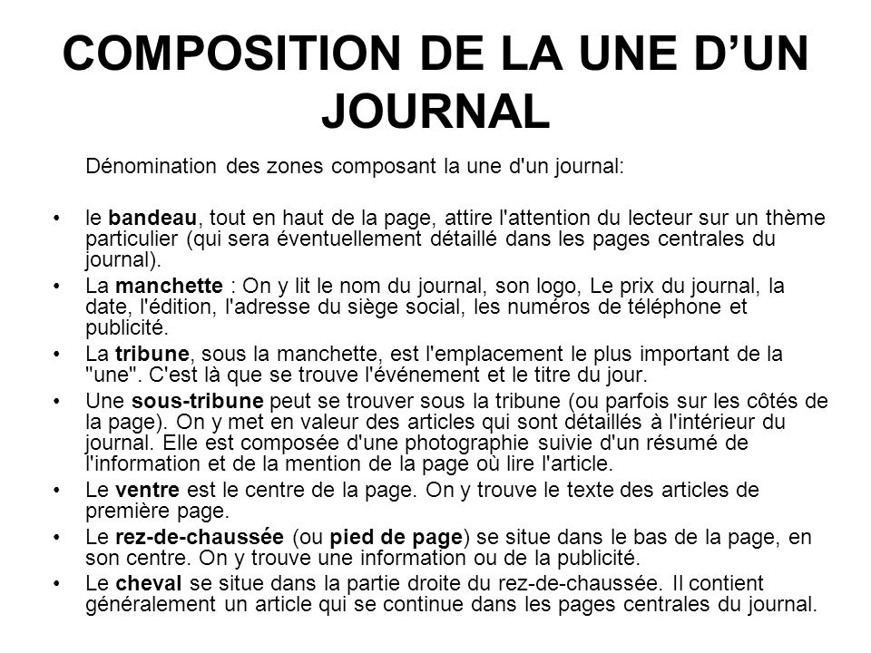 COMPOSITION DE LA UNE D'UN JOURNAL