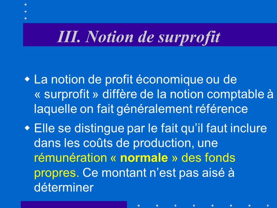 III. Notion de surprofit