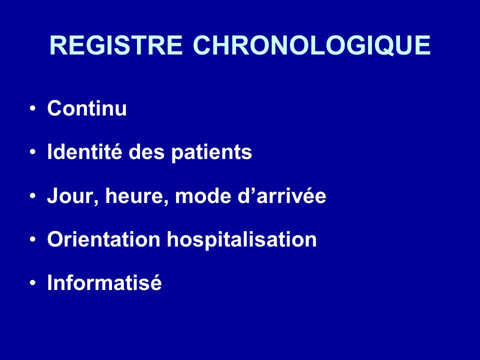 REGISTRE CHRONOLOGIQUE