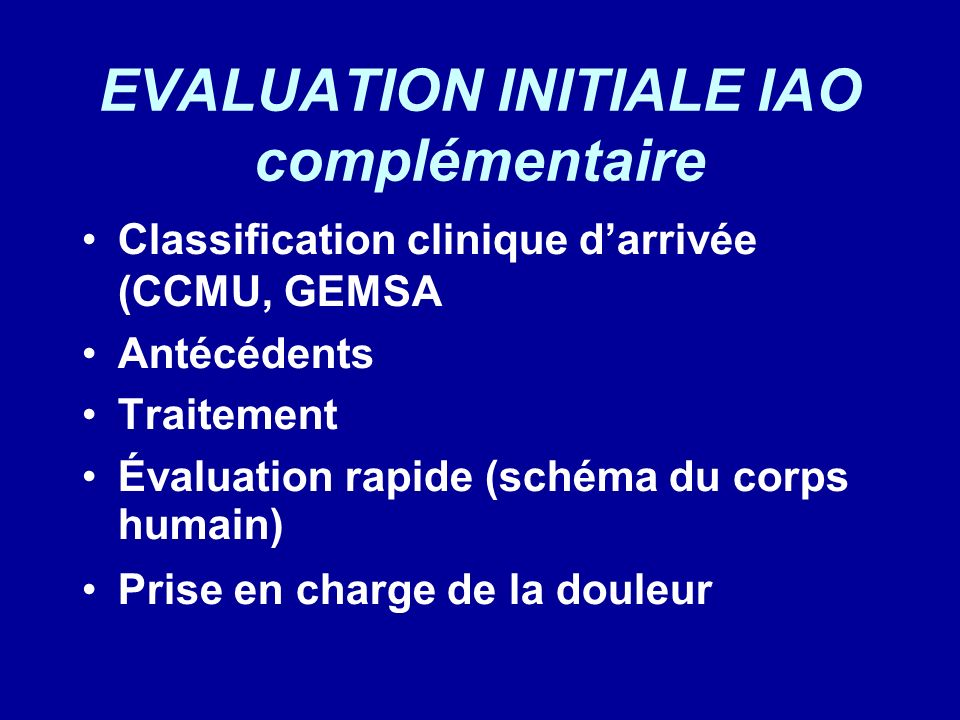 EVALUATION INITIALE IAO complémentaire