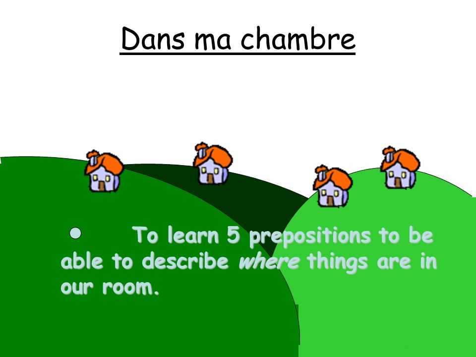 Dans ma chambre To learn 5 prepositions to be able to describe where things are in our room.