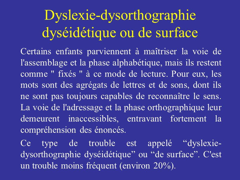 Dyslexie-dysorthographie dyséidétique ou de surface