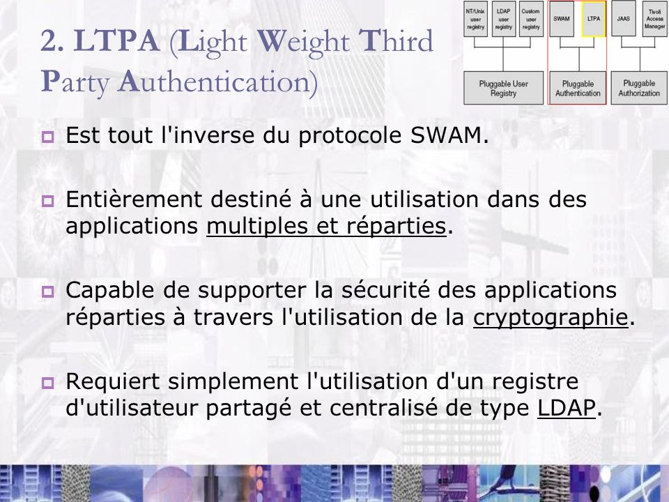 2. LTPA (Light Weight Third Party Authentication)