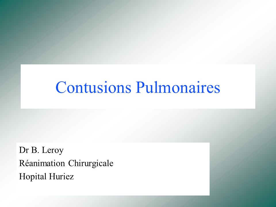 Contusions Pulmonaires