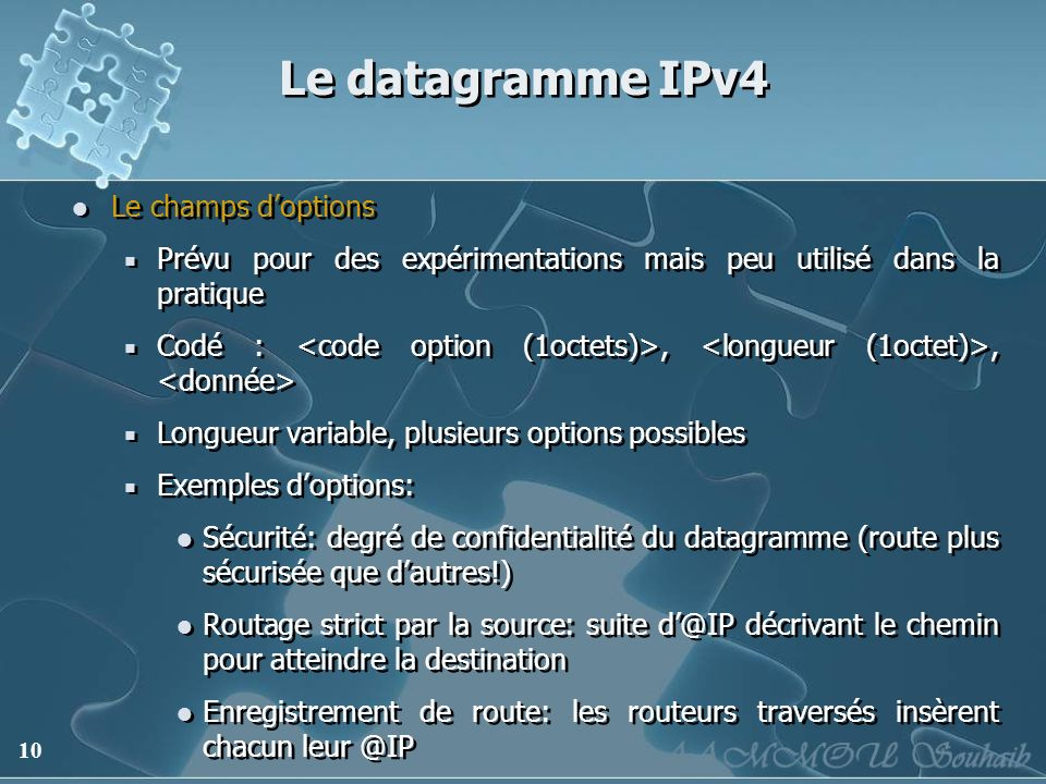 Le datagramme IPv4 Le champs d'options