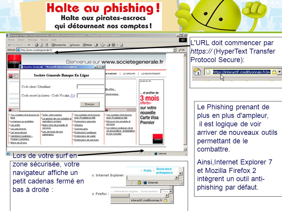 L URL doit commencer par https:// (HyperText Transfer Protocol Secure):