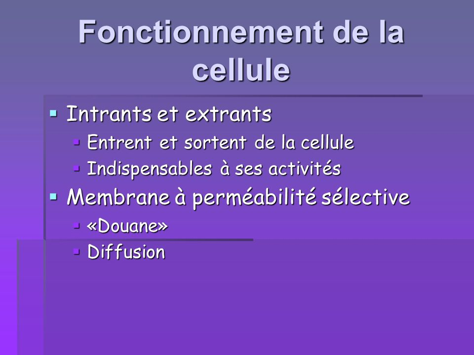 Fonctionnement de la cellule