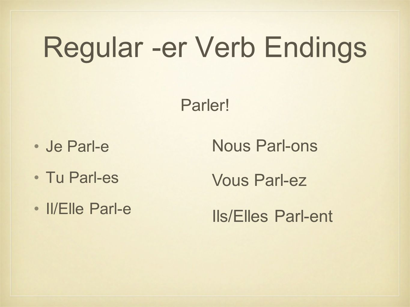 Regular -er Verb Endings