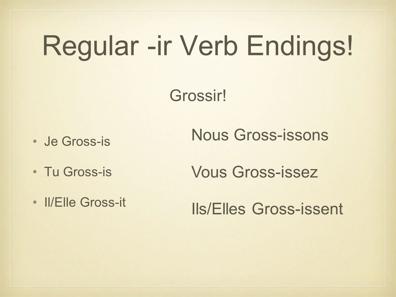 Regular -ir Verb Endings!