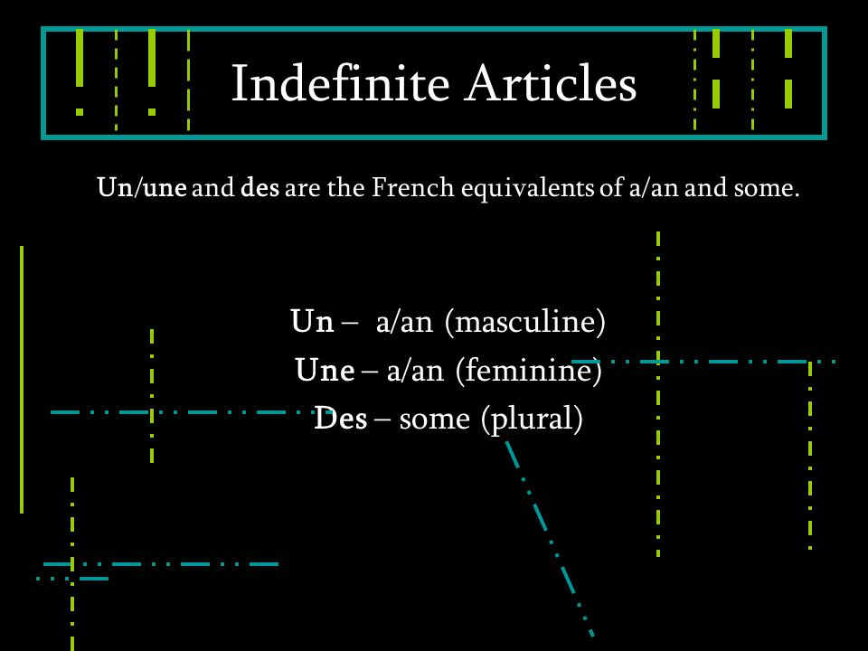 Un/une and des are the French equivalents of a/an and some.