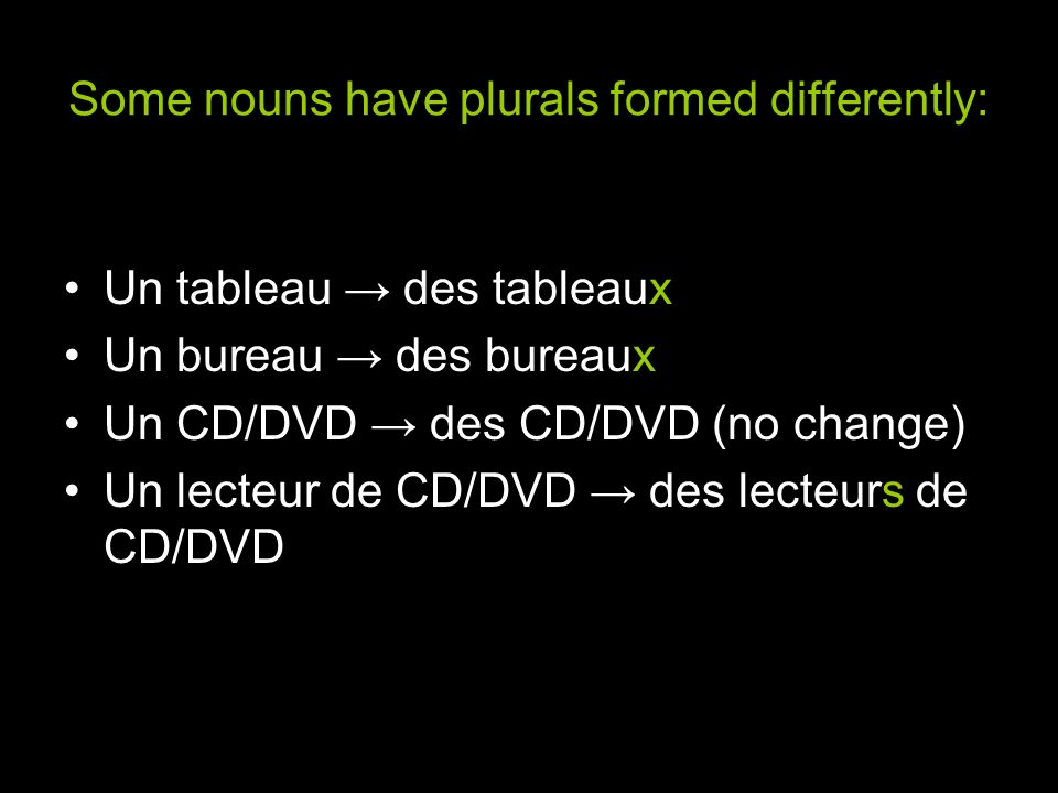 Some nouns have plurals formed differently: