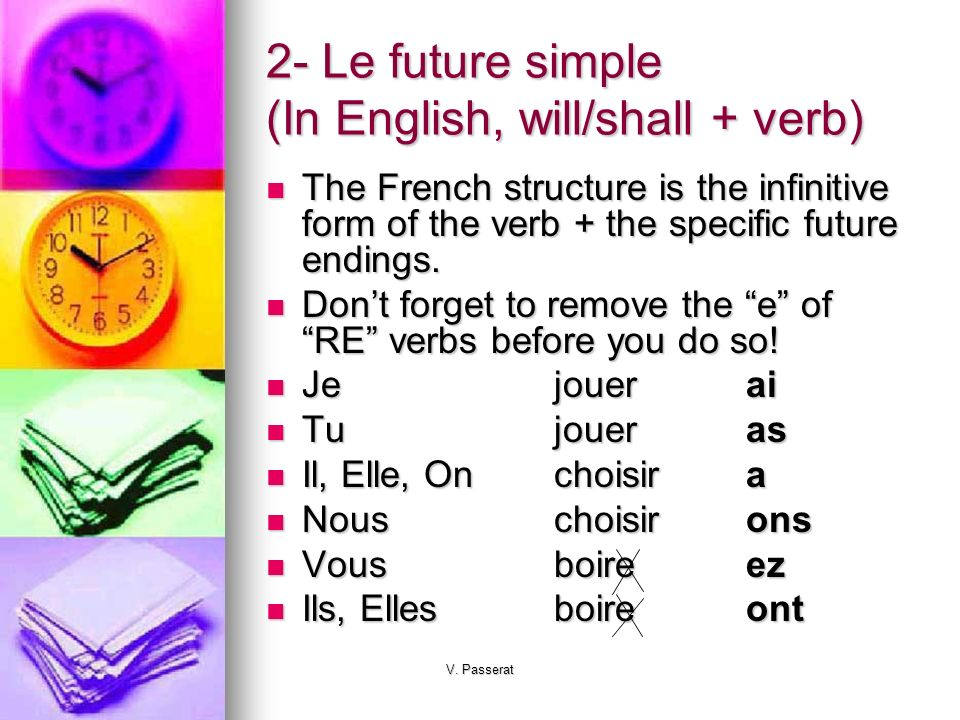 2- Le future simple (In English, will/shall + verb)