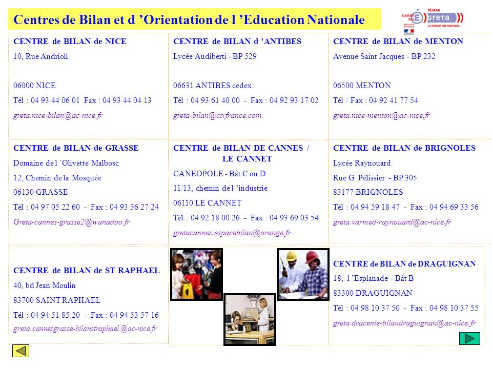 Centres de Bilan et d 'Orientation de l 'Education Nationale