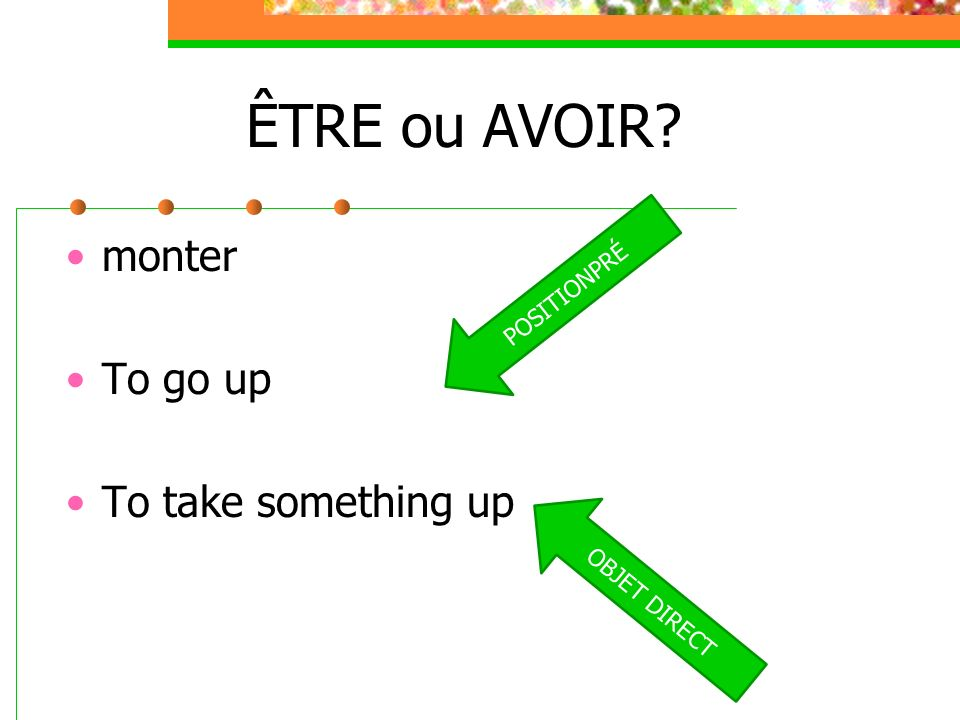 ÊTRE ou AVOIR monter To go up To take something up POSITIONPRÉ