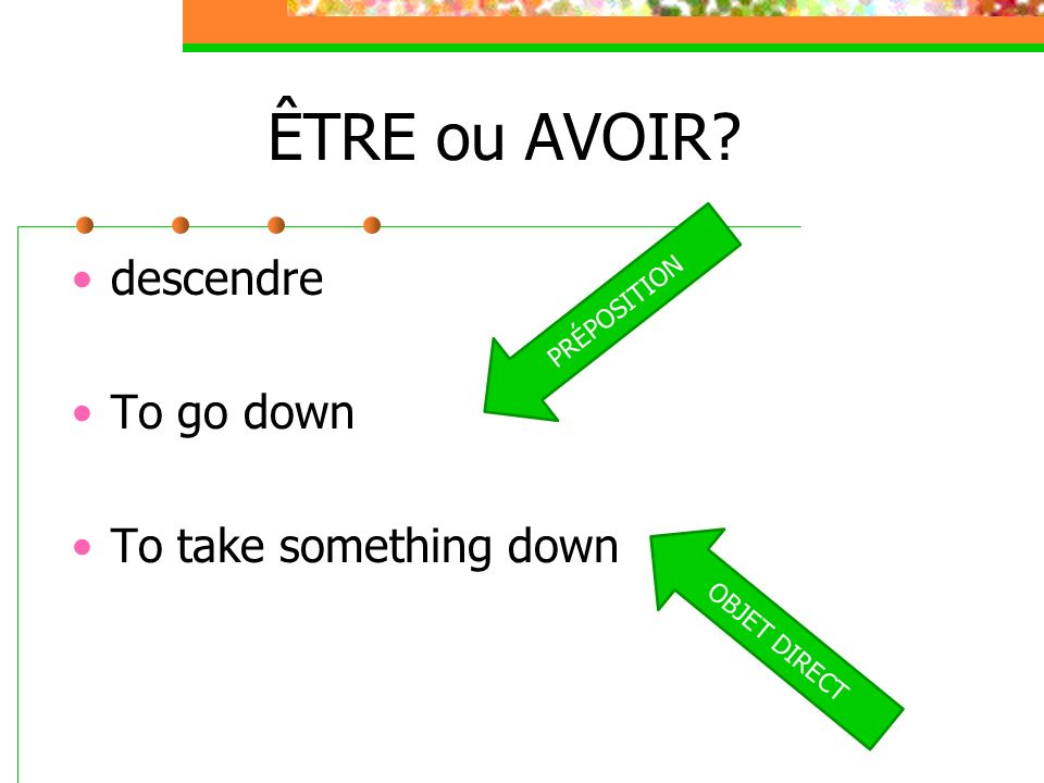 ÊTRE ou AVOIR descendre To go down To take something down PRÉPOSITION
