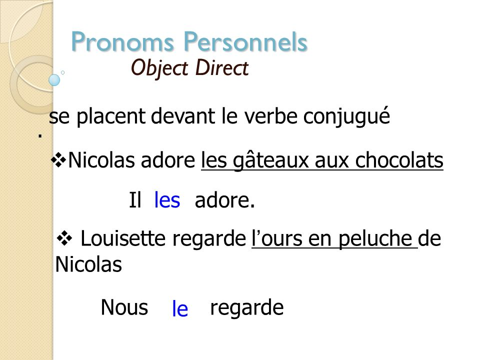 Pronoms Personnels Object Direct . se placent devant le verbe conjugué
