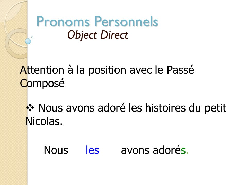 Pronoms Personnels Object Direct