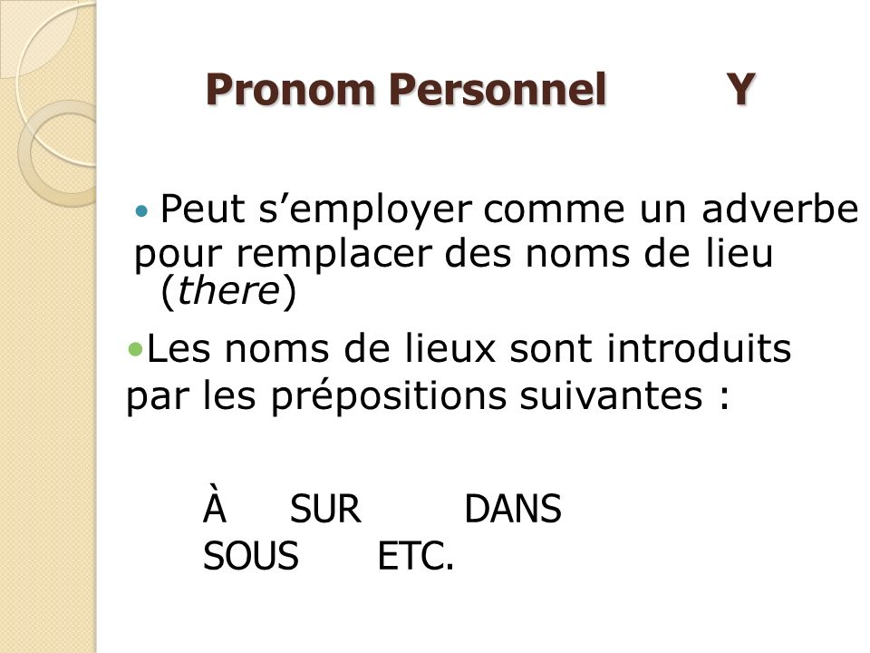 Pronom Personnel Y Peut s'employer comme un adverbe
