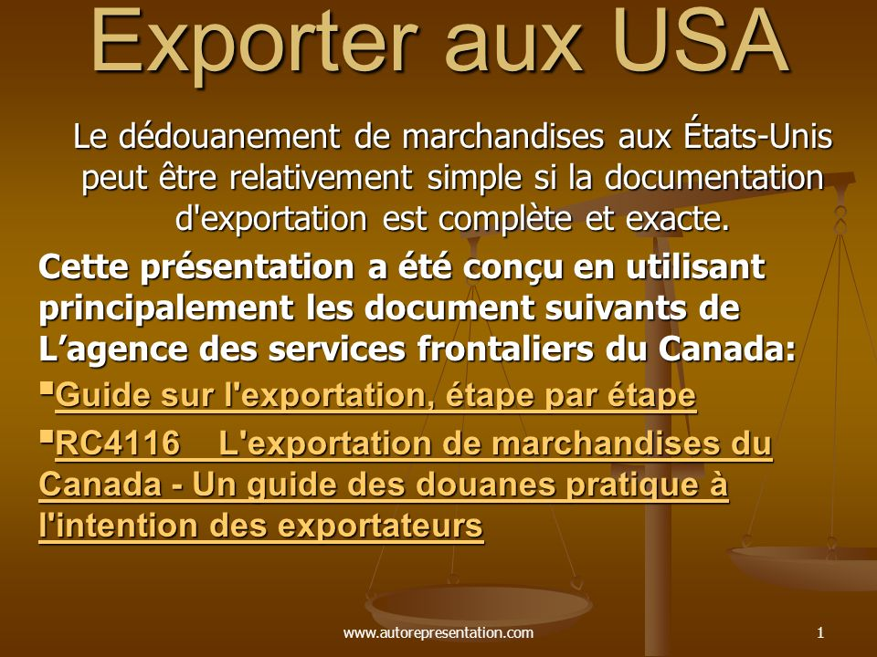 Exporter aux USA