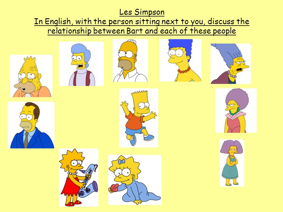 Les Simpson In English, with the person sitting next to you, discuss the relationship between Bart and each of these people