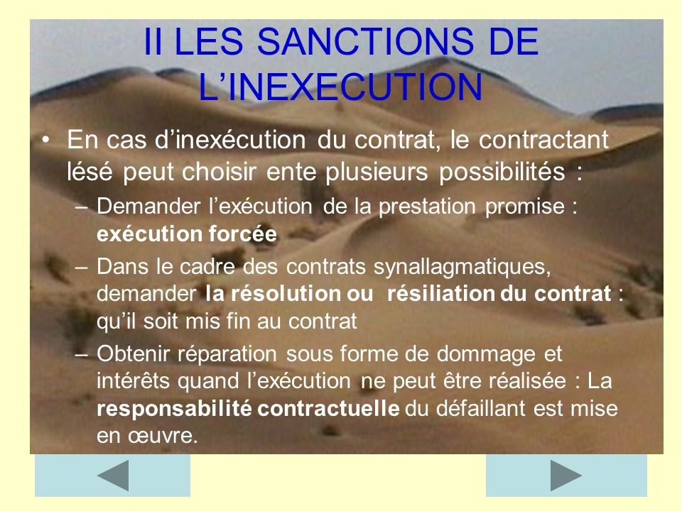 II LES SANCTIONS DE L'INEXECUTION