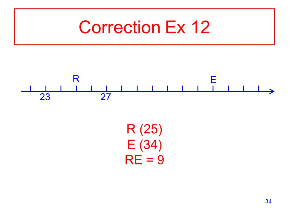Correction Ex R E R (25) E (34) RE = 9