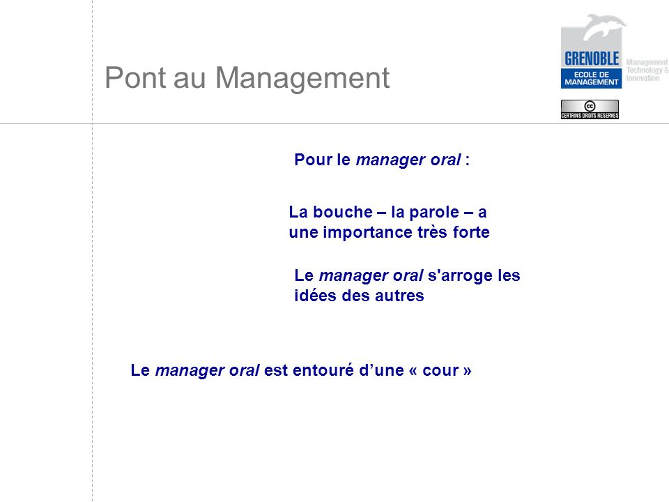 Pont au Management Pour le manager oral :