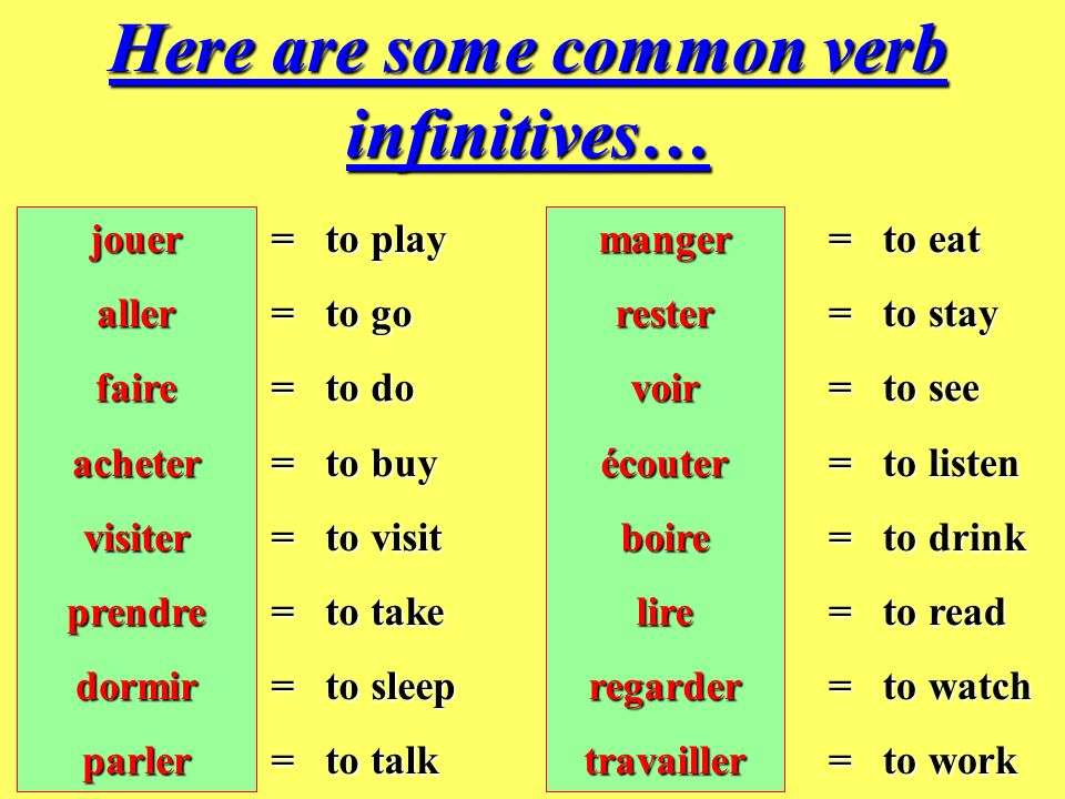Here are some common verb infinitives…