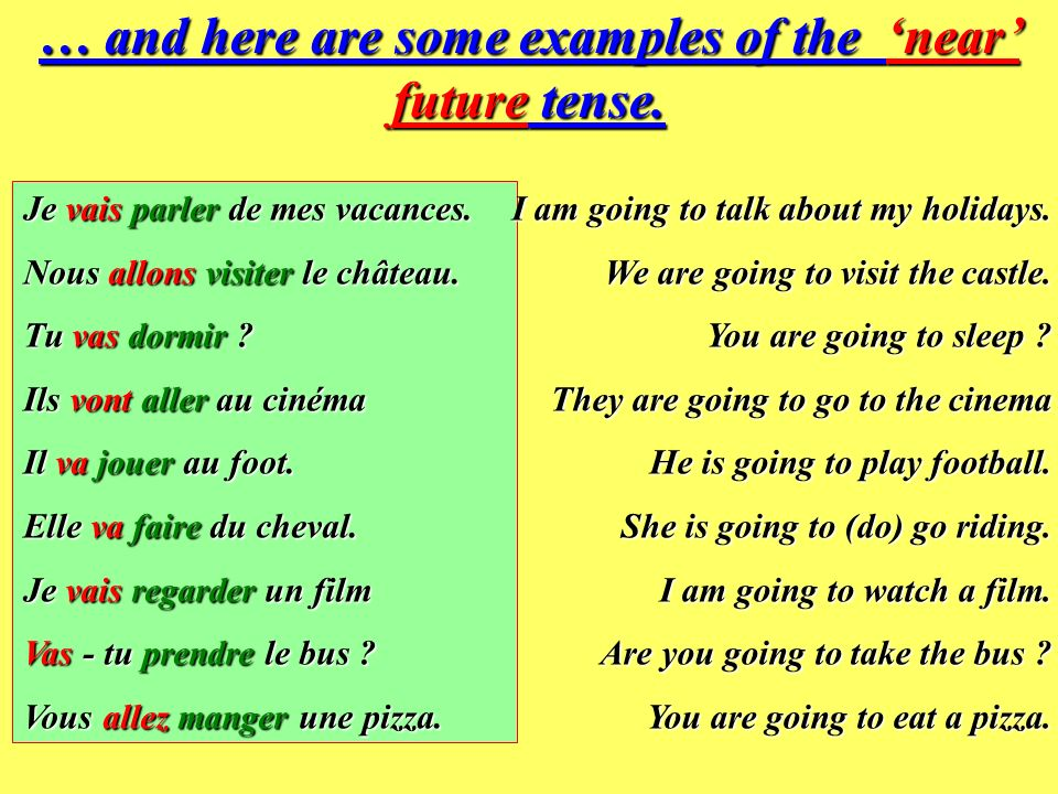 … and here are some examples of the 'near' future tense.