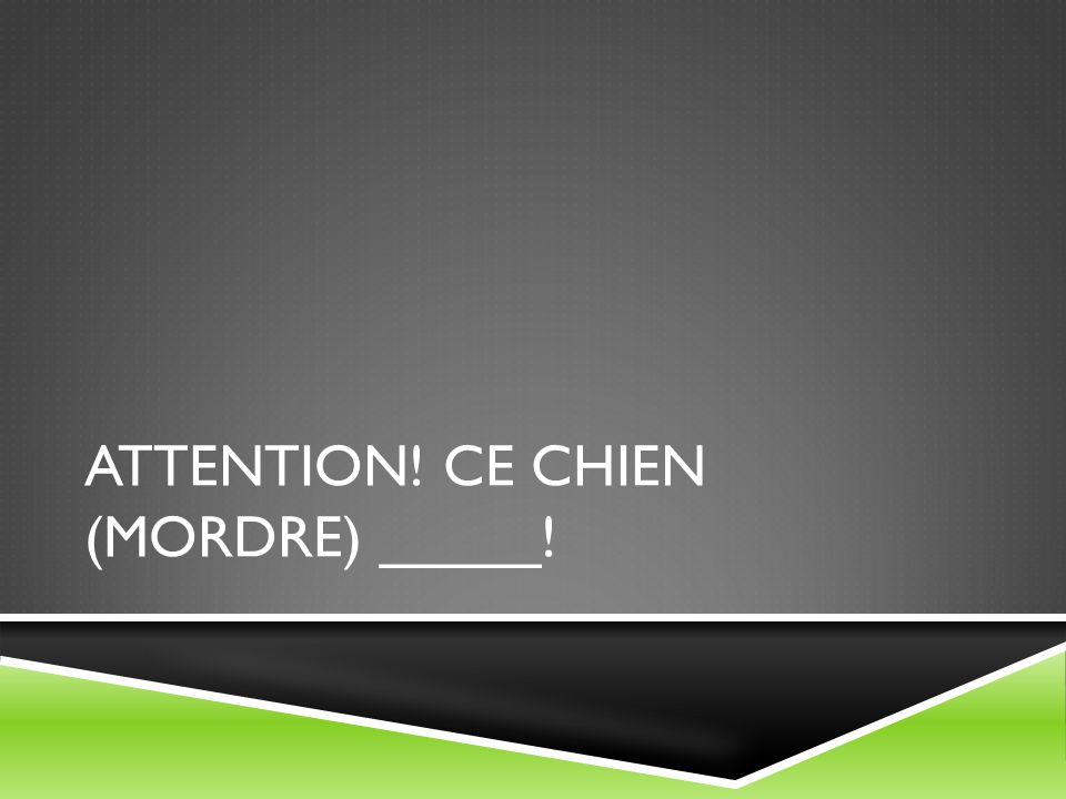 Attention! Ce chien (mordre) _____!