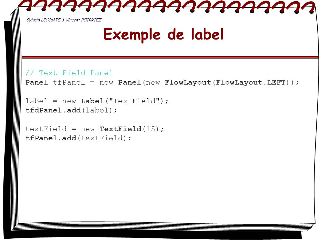 Exemple de label // Text Field Panel