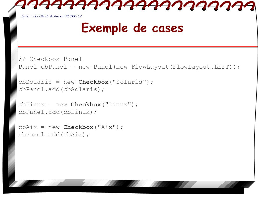 Exemple de cases // Checkbox Panel