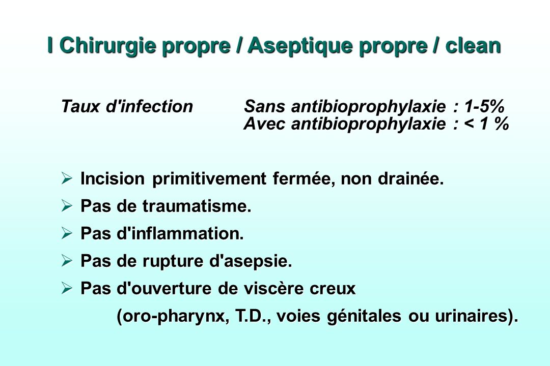 I Chirurgie propre / Aseptique propre / clean