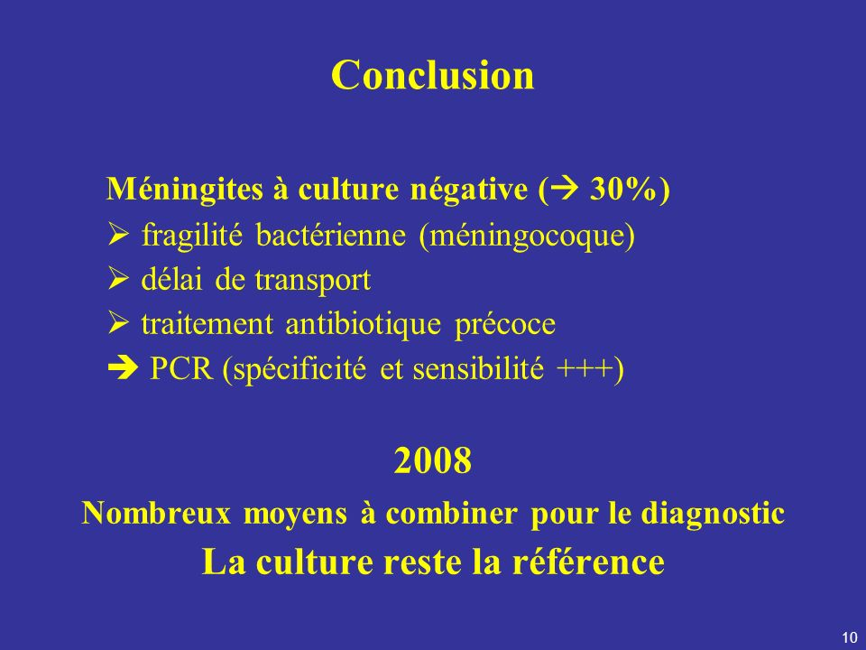 Conclusion Méningites à culture négative ( 30%) 2008