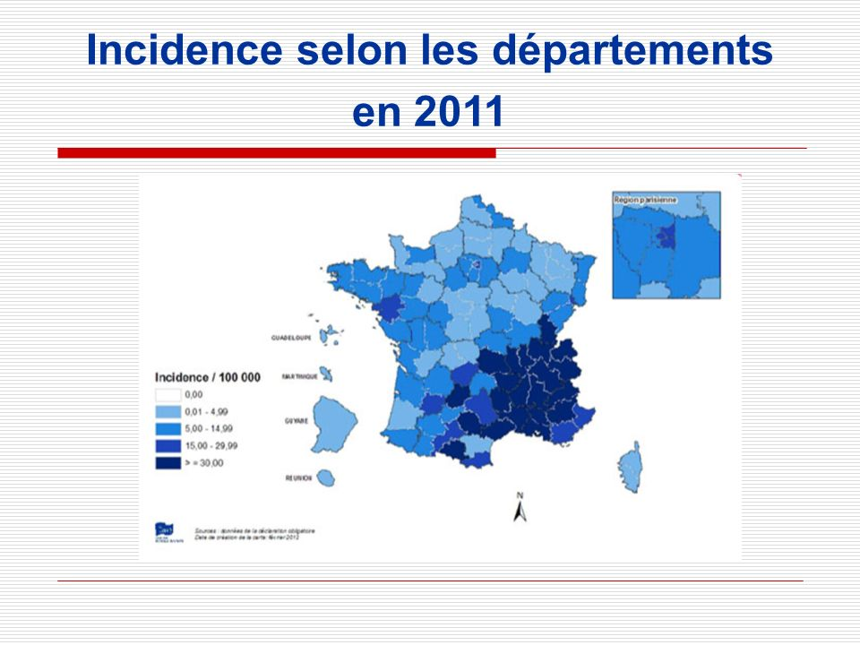 Incidence selon les départements