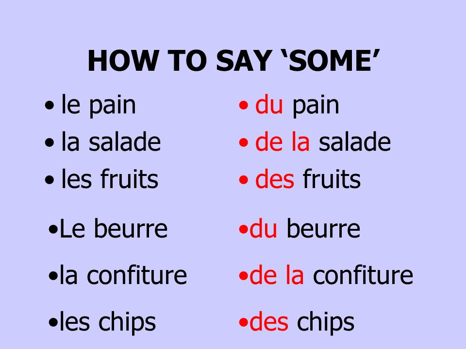HOW TO SAY 'SOME' le pain la salade les fruits du pain de la salade