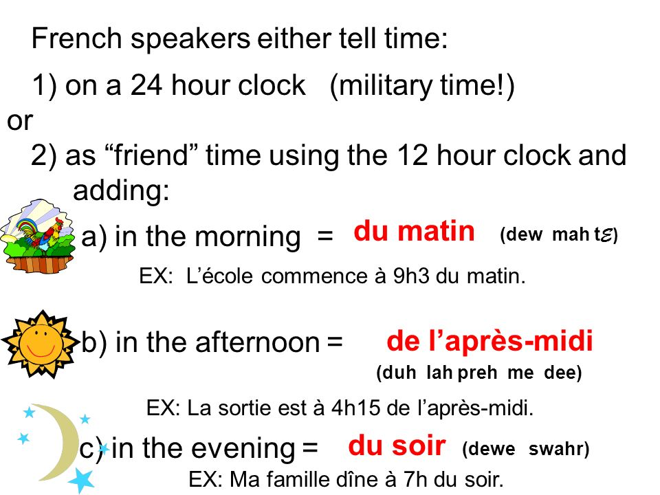 French speakers either tell time: