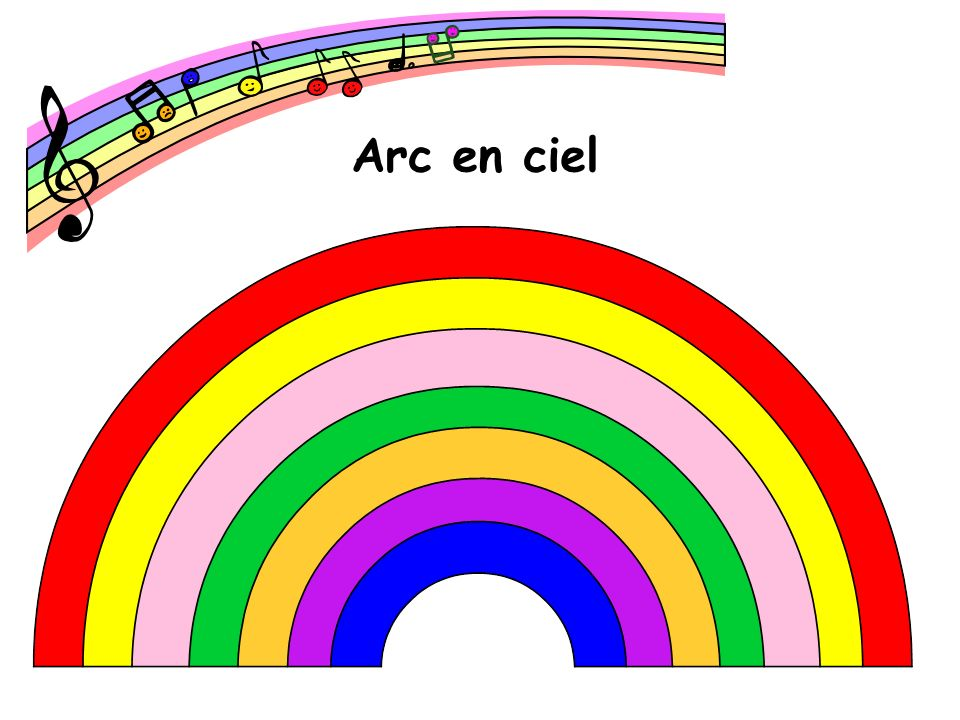 Arc en ciel The French version of the rainbow song, sung to the same tune.