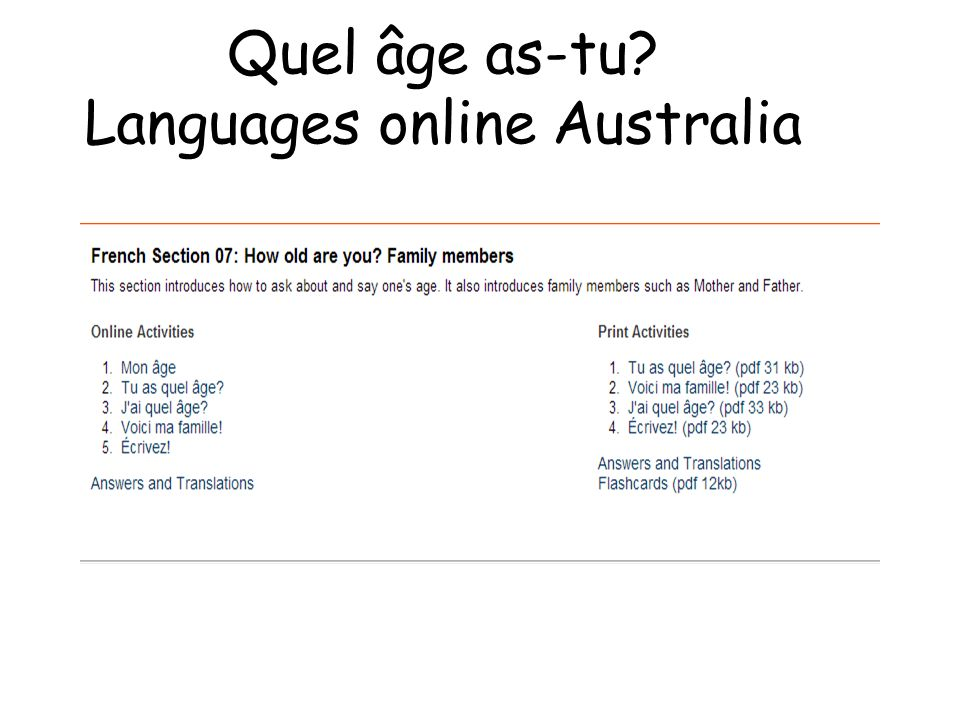 Quel âge as-tu Languages online Australia