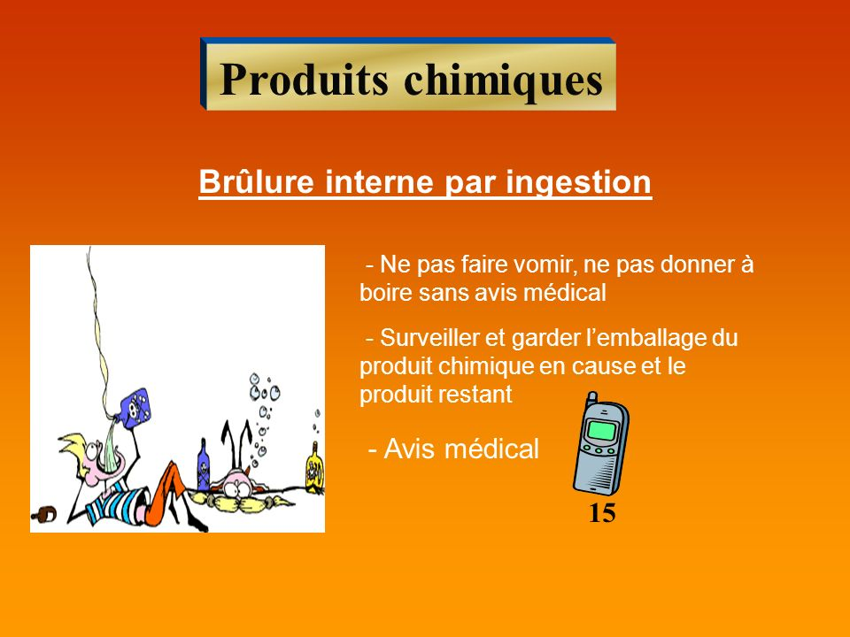 Brûlure interne par ingestion