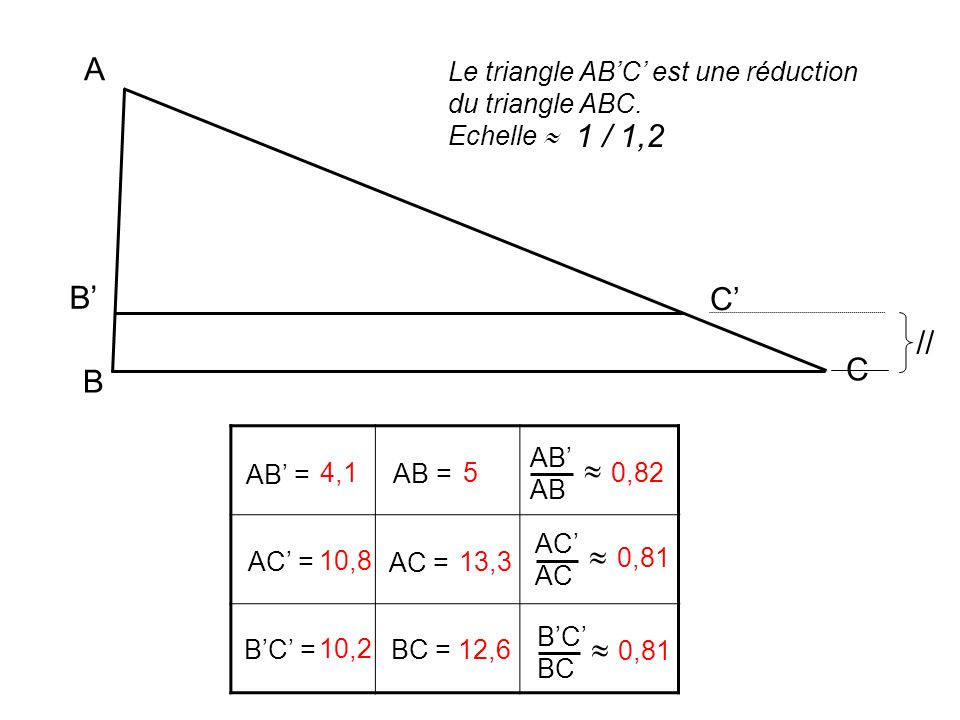 A Le triangle AB'C' est une réduction du triangle ABC. Echelle  1 / 1,2. B' C' // C. B. AB'