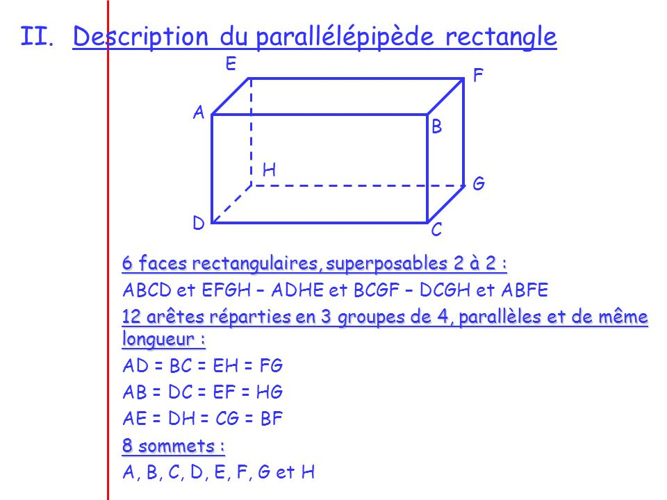 Description du parallélépipède rectangle