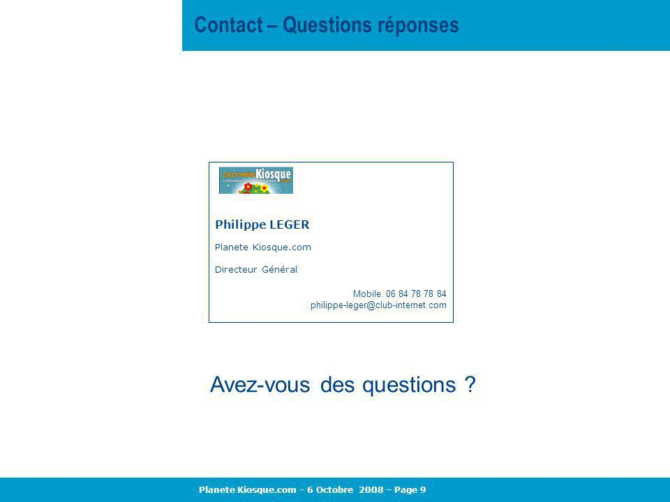 Contact – Questions réponses