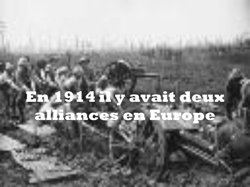 En 1914 il y avait deux alliances en Europe