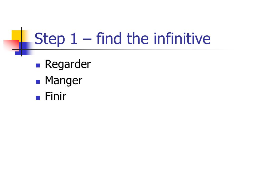 Step 1 – find the infinitive