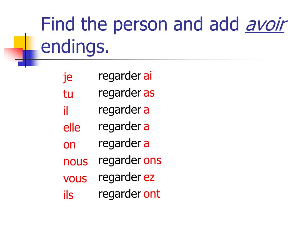 Find the person and add avoir endings.