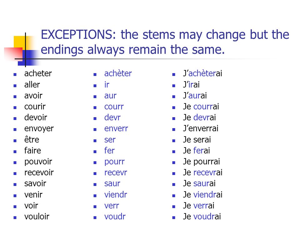 EXCEPTIONS: the stems may change but the endings always remain the same.