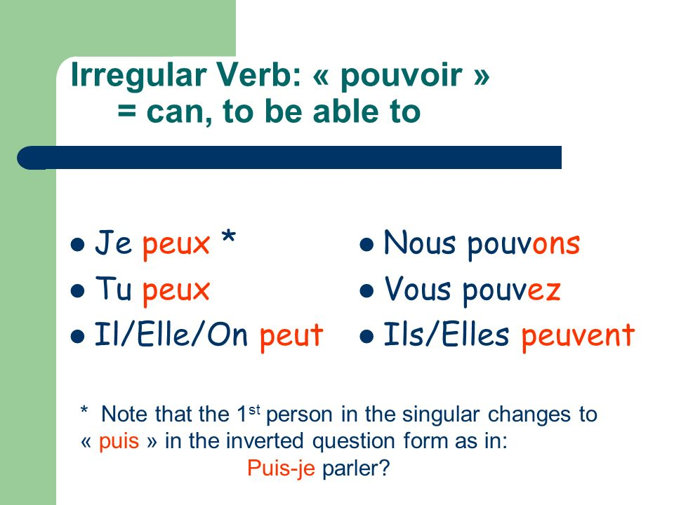 Irregular Verb: « pouvoir » = can, to be able to