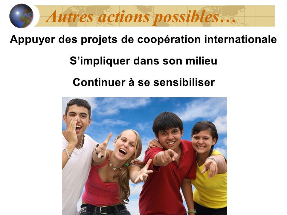 Autres actions possibles…
